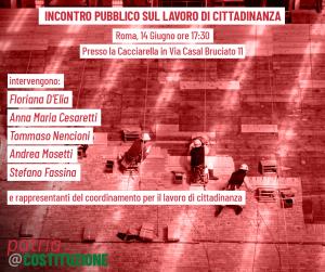 """Incontro pubblico sul """"lavoro di cittadinanza"""" @ La Cacciarella"""