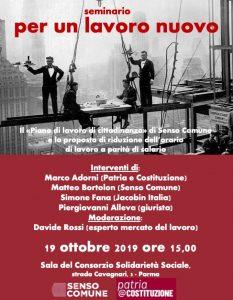 Per un lavoro nuovo @ Consorzio solidarietà sociale di Parma