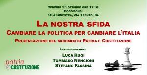 La nostra sfida. Cambiare la politica per cambiare l'Italia @ Sala polivalente La Ginestra